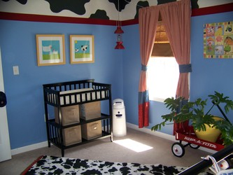 Rocco S Farm Themed Nursery Picture This Room Has Many Custom Features From The Paint On Walls Curtains Name Plaque Rug And Mobile